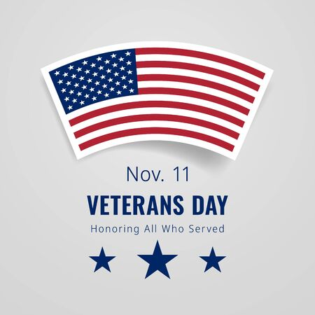 Veterans Day November 11 Congratulations Banner. Honoring All Who Served greeting card. Creative 3d style template. United state of America, US design. Beautiful USA flag composition. Poster design