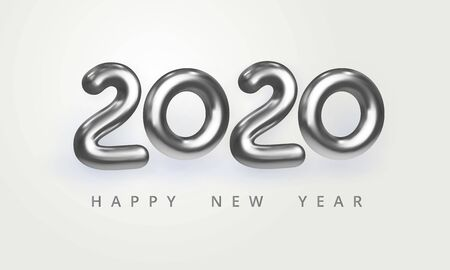 2020 Happy New Year greeting card. Holiday vector illustration of shiny silver metallic numbers 2020. Realistic 3d sign isolated on white. Festive poster, flyer or banner design Çizim