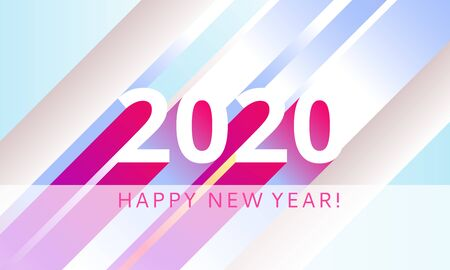 Happy 2020 new year modern colour banner for your seasonal holidays flyers, greetings and invitations, christmas congratulations and cards. Flat minimalistic style design with 3D. Vector illustration Çizim