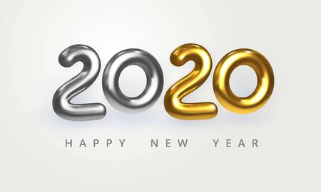 2020 Happy New Year greeting card. Holiday vector illustration of shiny silver and golden metallic numbers 2020. Realistic 3d sign isolated on white. Festive poster, flyer or banner design