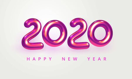 2020 Happy New Year greeting card. Holiday vector illustration of shiny pink metallic numbers 2020. Realistic 3d sign isolated on white. Festive poster, flyer or banner design
