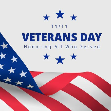 Veterans Day November 11th. Honoring All Who Served greeting card. Creative 3d style template. United state of America, US design. Beautiful USA flag composition. Poster design Çizim