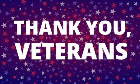 Veterans Day - Thank You, Veterans greeting card with inscription on blue red patriotic background with USA celebration confetti stars