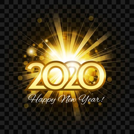 2020 happy new year greeting card. Gold number 2020 with flash bright firework on dark transparent background