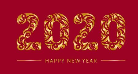 Happy 2020 new year gold vintage banner for your seasonal holidays flyers, greetings, invitations cards. Openwork hand drawn golden symbol lettering 2020 on red background. Patterned illustration Çizim