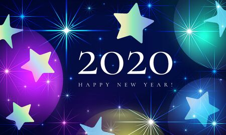 Happy New Year 2020 beautiful fairytale vector illustration. Magical starry sky with a shiny Christmas star. Festive poster, flyer or banner design