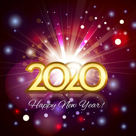 2020 happy new year greeting card. Gold number 2020 with fireworks with bright rays with particles in the background of the night