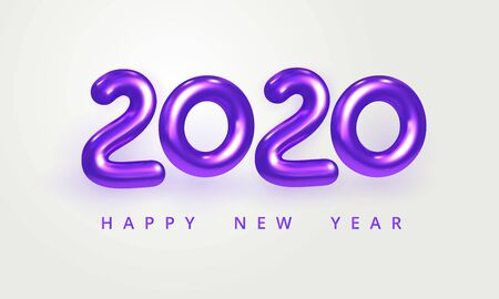 2020 Happy New Year greeting card. Holiday vector illustration of shiny violet metallic numbers 2020. Realistic 3d sign isolated on white. Festive poster, flyer or banner design