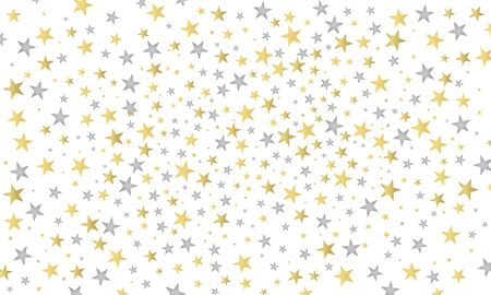 Abstract white modern nice pattern with gold and silver stars. Shiny background. Texture of gold foil tinsel. Vector illustration