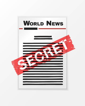 Abstract newspaper front page. Newspaper with black stripes hiding the text and the stamp Secret. Protest illustration of hiding news from society
