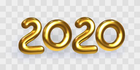 2020 Happy New Year. Holiday vector illustration of shiny golden metallic numbers 2020. Realistic 3d gold sign isolated on transparent. Design element for festive card or banner design. Mixed media