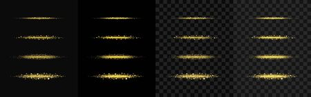 Set of golden sparkling star dust. Gold sparkling magic vector path with golden particles isolated on black and transparent background. Shiny bright trail, glowing waves, flickering illustrations
