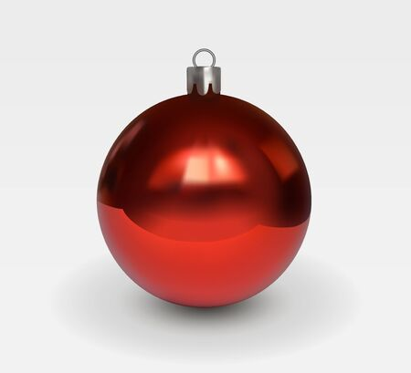 Red glass christmas tree ball with patches of light isolated on white background. Christmas decoration for a festive mood. Realistic vector 3D illustration