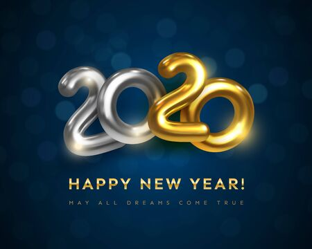 Happy New 2020 Year greeting card with text May All Dreams Come True. Festive vector illustration of golden metal numbers 2020 with bokeh. Realistic 3d gold sign. Holiday poster, flyer, banner design