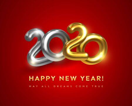 Happy New 2020 Year greeting card with text May All Dreams Come True. Holiday vector illustration of golden metallic numbers 2020. Realistic 3d gold sign. Festive poster, flyer or banner design