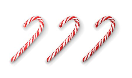 Christmas red and white candy cane isolated on a white. Three option with different color saturation. Realistic 3d vector illustration. Design element Vectores