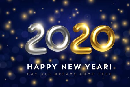 Happy New 2020 Year greeting card with text May All Dreams Come True. Holiday vector illustration of golden metal numbers 2020 with luminous particles. Realistic 3d gold sign. Festive banner design
