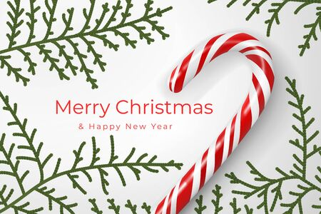 Merry Christmas and Happy New Year. Christmas mood concept. Layout composition with festive attributes, decorative branches of thuja, juniper, candy cane. Winter holidays season. Realistic 3d vector