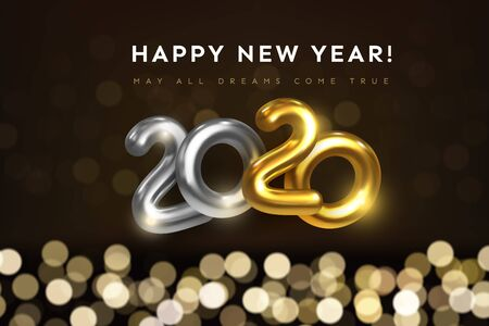 Happy new year 2020 greeting card with wishes text. Festive vector illustration of golden metal numbers 2020 with bokeh background. Realistic 3d gold sign. Holiday flyer, banner design. Mixed media