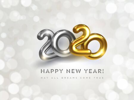 Happy New 2020 Year greeting card with wish text. Holiday vector illustration of golden metallic numbers 2020 on white background with bokeh. Realistic 3d silver and gold sign. Festive banner design