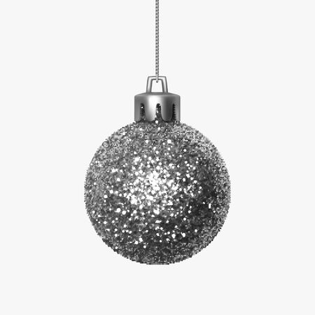 Beautiful silver shiny Christmas ball made from sequins hanging on shiny thread. Christmas decoration with sparkles for festive mood. Desidn element isolated on white background. Realistic 3D vector