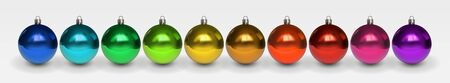 Set of beautiful multicolor shiny Christmas balls with reflection. Blue, red, yellow, green, gold shades. Christmas decoration for festive mood. Desidn element isolated on white. 3D realistic vector Çizim