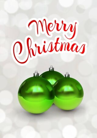 Merry Christmas greeting card with green balls. Festive illustration of glass green christmas balls on white background with bokeh. Realistic 3d vector. Festive flyer, banner, poster, card design Çizim