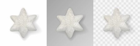 Christmas decoration. White glitter star with realistic shadow. Presentation on various backgrounds. Holiday christmas design element for poster, greeting cards, headers, website. Realistic 3d vector