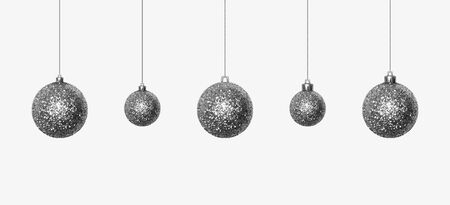 Set of beautiful silver glittering Christmas balls made of sparkles hanging on shiny thread. Christmas decoration from sequins for festive mood. Desidn element isolated on white. Realistic 3D vector Çizim