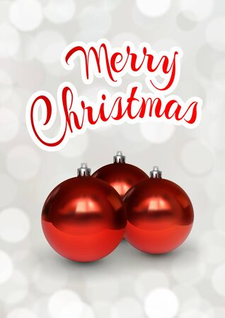 Merry Christmas greeting card with red balls. Festive illustration of glass red christmas balls on white background with bokeh. Realistic 3d vector objects. Festive flyer, banner, poster, card design