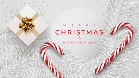 Christmas banner. Xmas background design of white pine branches, with realistic gift box, white confetti, sweets, candy canes, lollipops. Horizontal christmas poster, greeting cards, headers, website Çizim