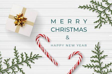 Merry christmas and happy new year composition. Christmas mood concept. Banner with festive attributes: gift box with gold bow, lollipop, decorative branches of thuja, juniper. Realistic 3d vector