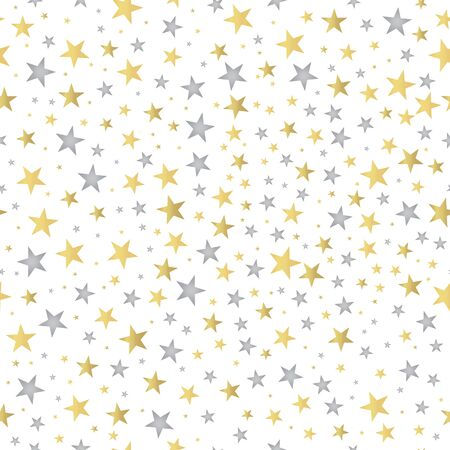 Beautiful pattern with gold and silver stars. Gold and silver foil tinsel. Seamless background. Excellent texture for wrapping paper. Vector illustration Çizim