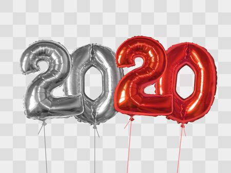 2020 number of silver and red foiled balloons isolated on transparent background. Happy new year 2020 holiday. Realistic 3d vector illustration Çizim