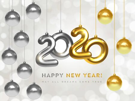 Happy New 2020 Year. Holiday banner of silver and golden metallic numbers 2020 and sparkling shiny Christmas balls. Realistic 3d vector. Festive christmas poster, greeting cards, headers, website