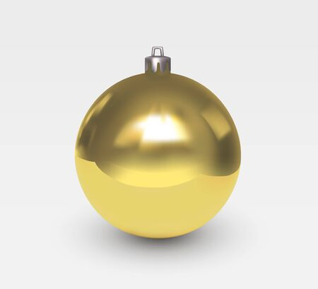 Gold glass christmas tree ball with patches of light isolated on white background. Christmas decoration for a festive mood. Realistic vector 3D illustration Çizim