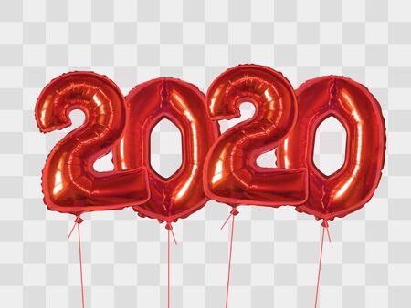 2020 number of red foiled balloons isolated on transparent background. Happy new year 2020 holiday. Realistic 3d vector illustration