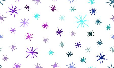 Seamless texture with colorful snowflakes on white background. Festive background for wrapping paper, products, decoration of stands, gifts, magazines, sites, articles Çizim