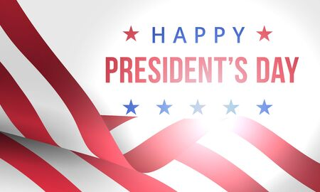 Happy Presidents Day. Festive banner with american flag and text. Creative 3d style template. United state of America, US design. Beautiful USA flag composition. Poster design. Vector illustration