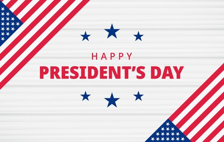 Happy Presidents Day. Festive banner background with american flag and text. United state of America, US design. Beautiful USA flag composition. Poster design. Vector illustration