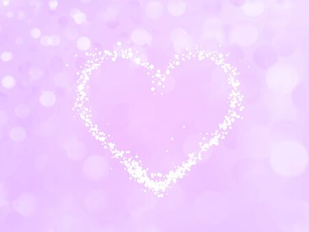 Beautiful delicate pink romantic love background. Heart of particles on the bokeh background. Vector illustration