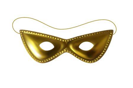 Beautiful golden carnival mask. Mardi Gras celebration, festival, carnaval decorative design element. Realistic isolated vecror object