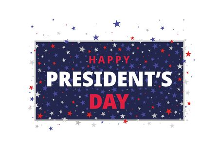 Happy Presidents Day. Festive banner with american style stars and text. Vector illustration