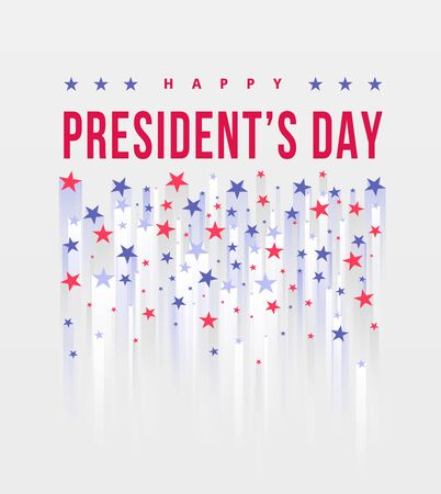 Happy Presidents Day. Festive banner with american style stars and text. Vector illustration. Creative Beautiful USA Stars template background. United state of America, US design. Poster design
