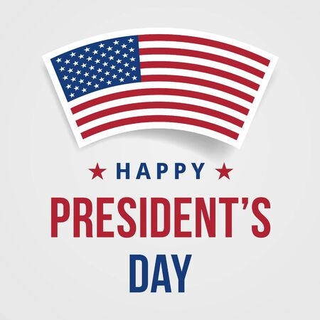 Presidents Day Congratulations Banner. Festive greeting card with american flag and text. Creative 3d style template. United state of America, US design. Beautiful USA flag composition. Poster design Çizim