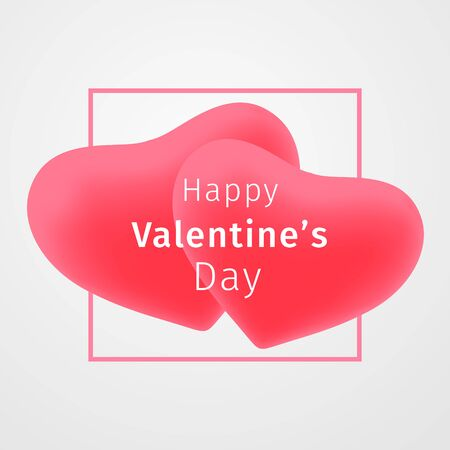 Happy Valentines Day greeting card. Couple 3d red hearts with a frame with inscription on white background. Festive valentine day banner, flyer, poster, leaflet, header, emblem