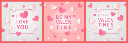 I Love You. Be My Valentine. Happy Valentines Day. Valentines day greeting card set. White and red hearts and a frame with text. Festive valentine day poster, flyer, leaflet. Vector paper design Ilustração