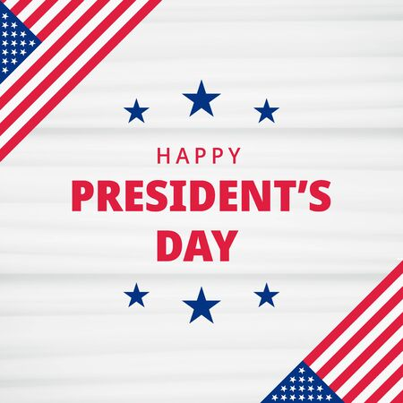 Happy Presidents Day. Festive banner background with american flag and text. United state of America, US design. Beautiful USA flag composition. Poster design. Vector illustration Ilustracje wektorowe