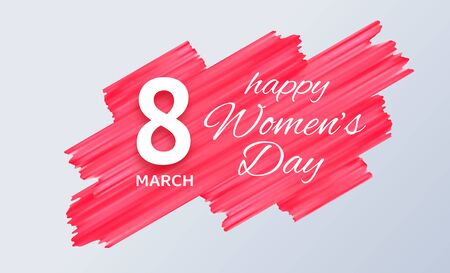 March 8. International Womens Day banner. Vector paper cut illustration with red paint texture. Festive feminine poster. Realistic decoration element for design. Love, women, femininity concept Ilustrace