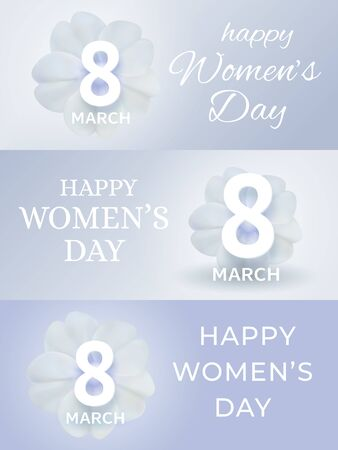 March 8 International Women's Day banner. Set of spring holiday gretting cards. Paper cutout number eight on white primula flower. Vector illustration in origami style. Love, women, femininity concept